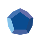 Blue 3D dodecahedron
