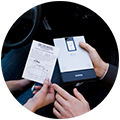 Brother MW Series, the world's thinnest mobile printer shown printing receipts on the go.