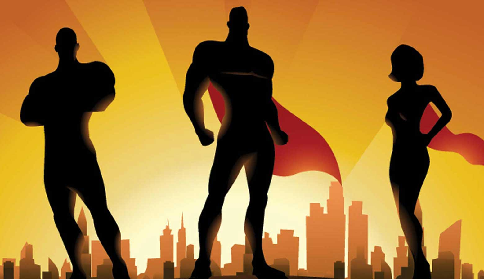 Super heroes in capes used to represent IT super users in business