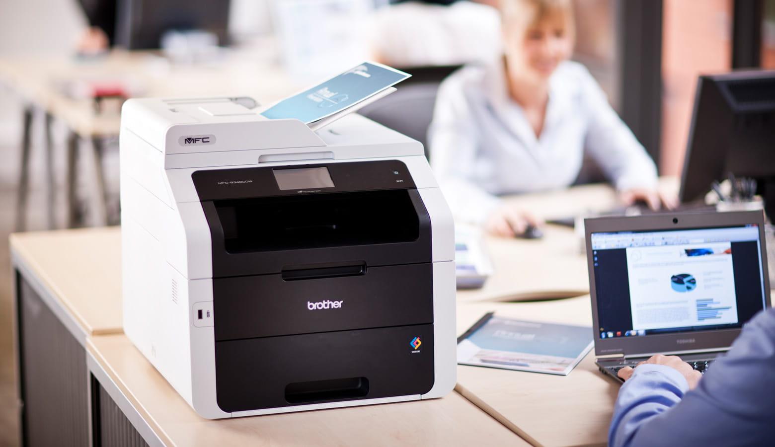 laser printer desk office background Brother