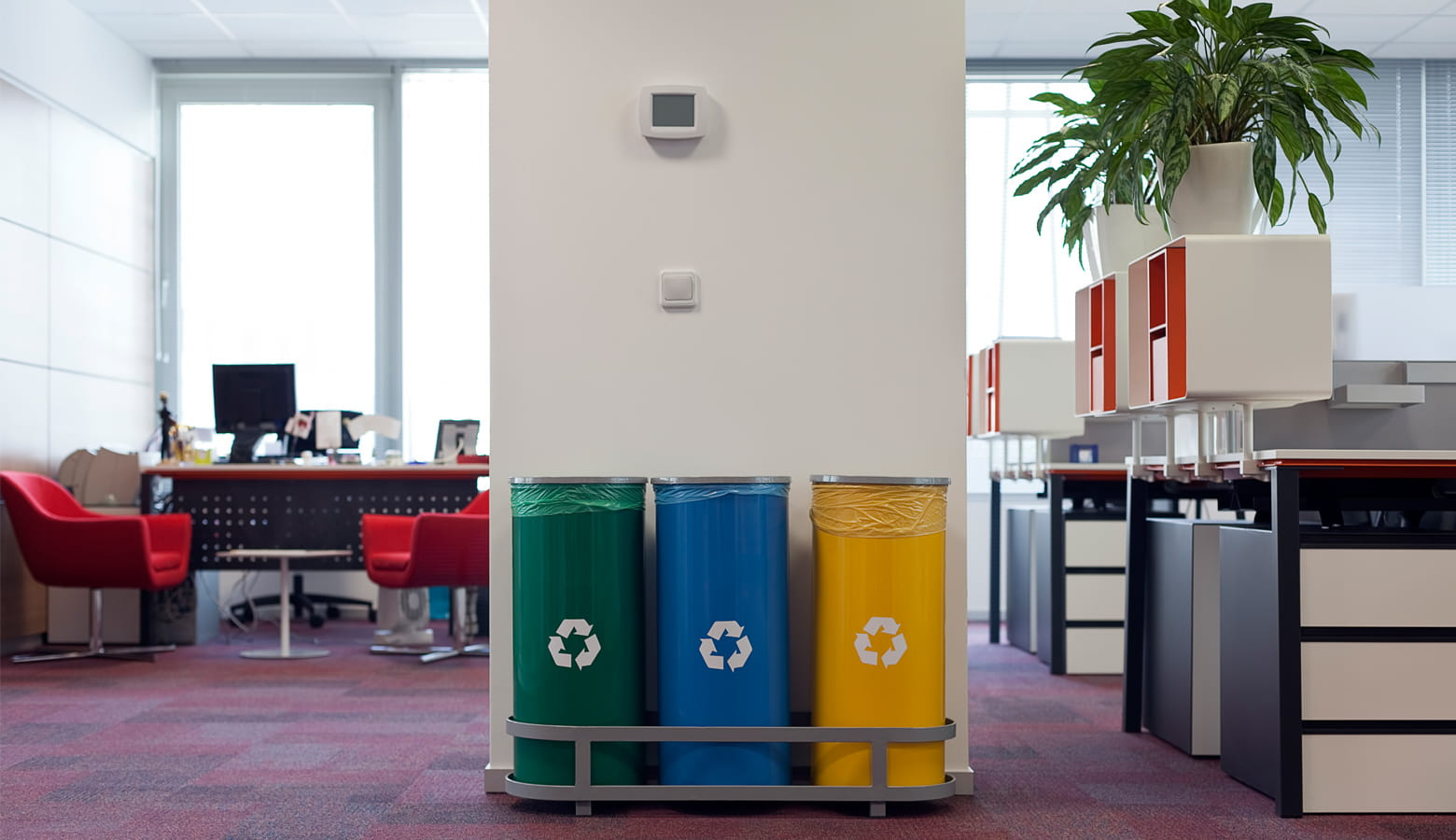 Recycling bins in an office environment