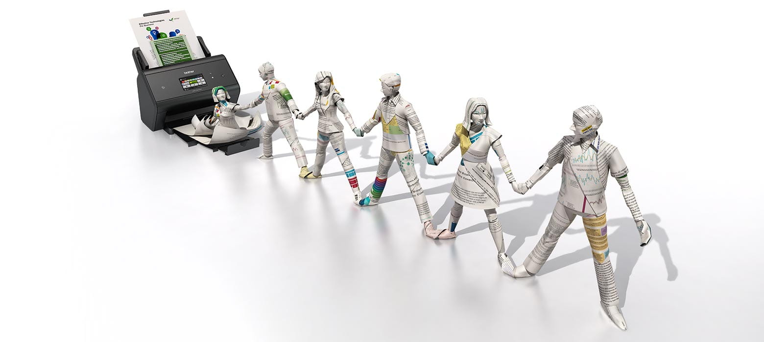 Illustration of people made out of paper, linking hands and connected to the scanner.