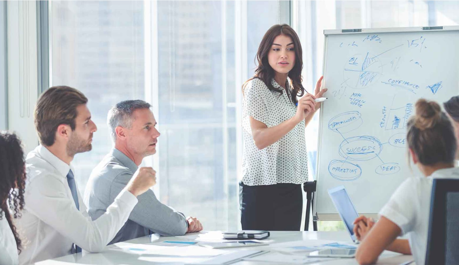 A business woman using a flip chart to note ideas from colleagues who are seated around a table in a meeting room