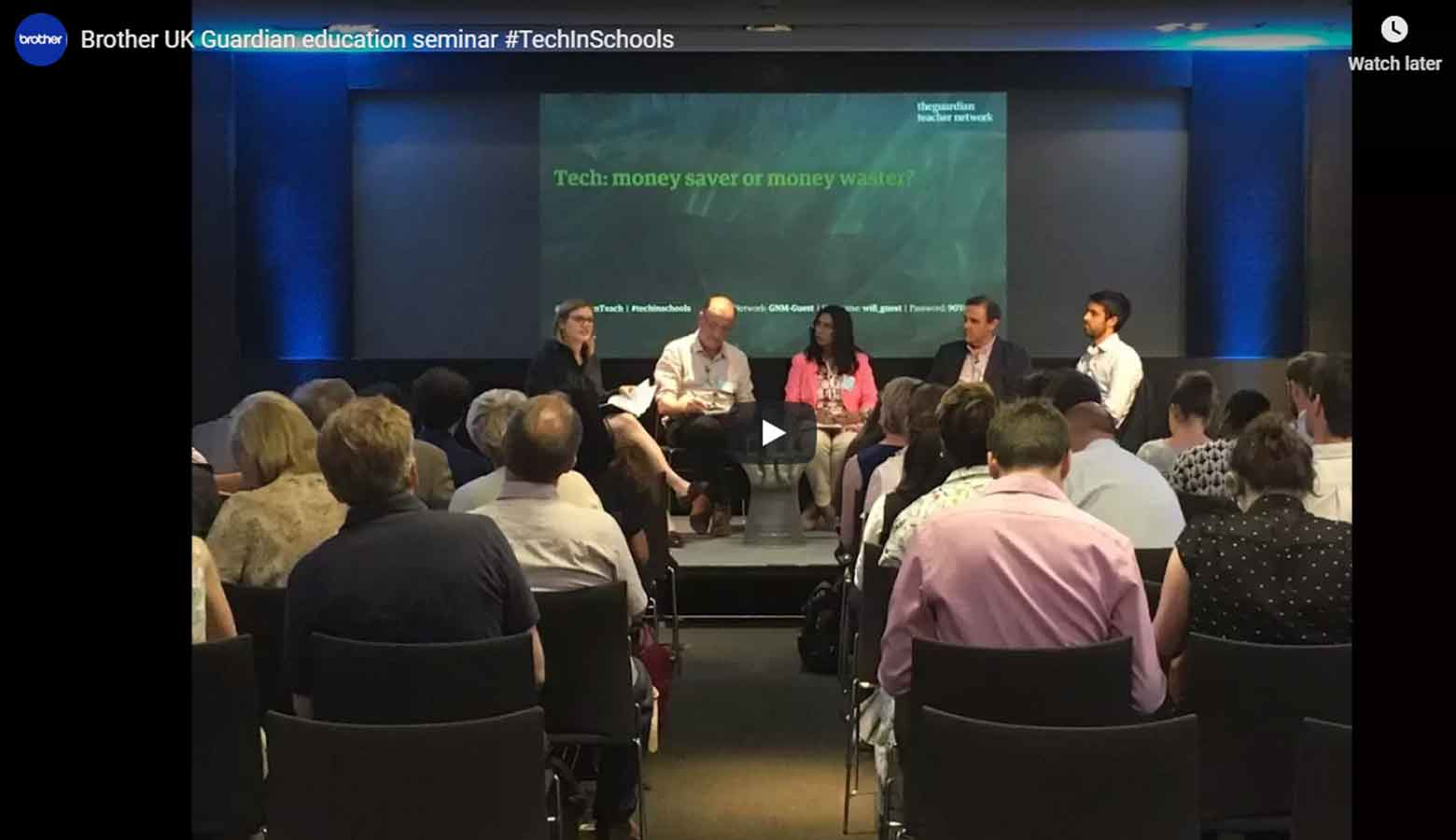An audience and panel at a Guardian Education seminar