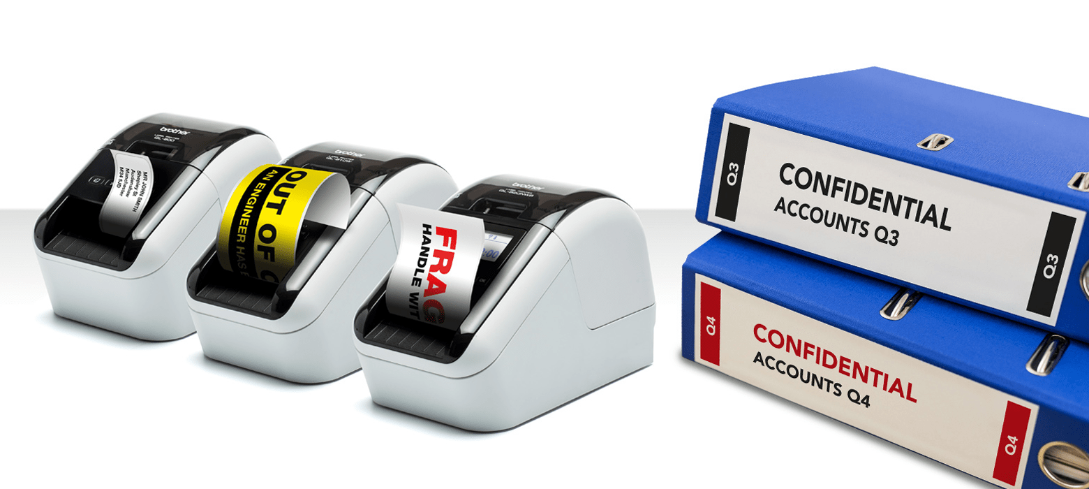 Three Brother QL-800 compact label printers next to confidential accounts folders