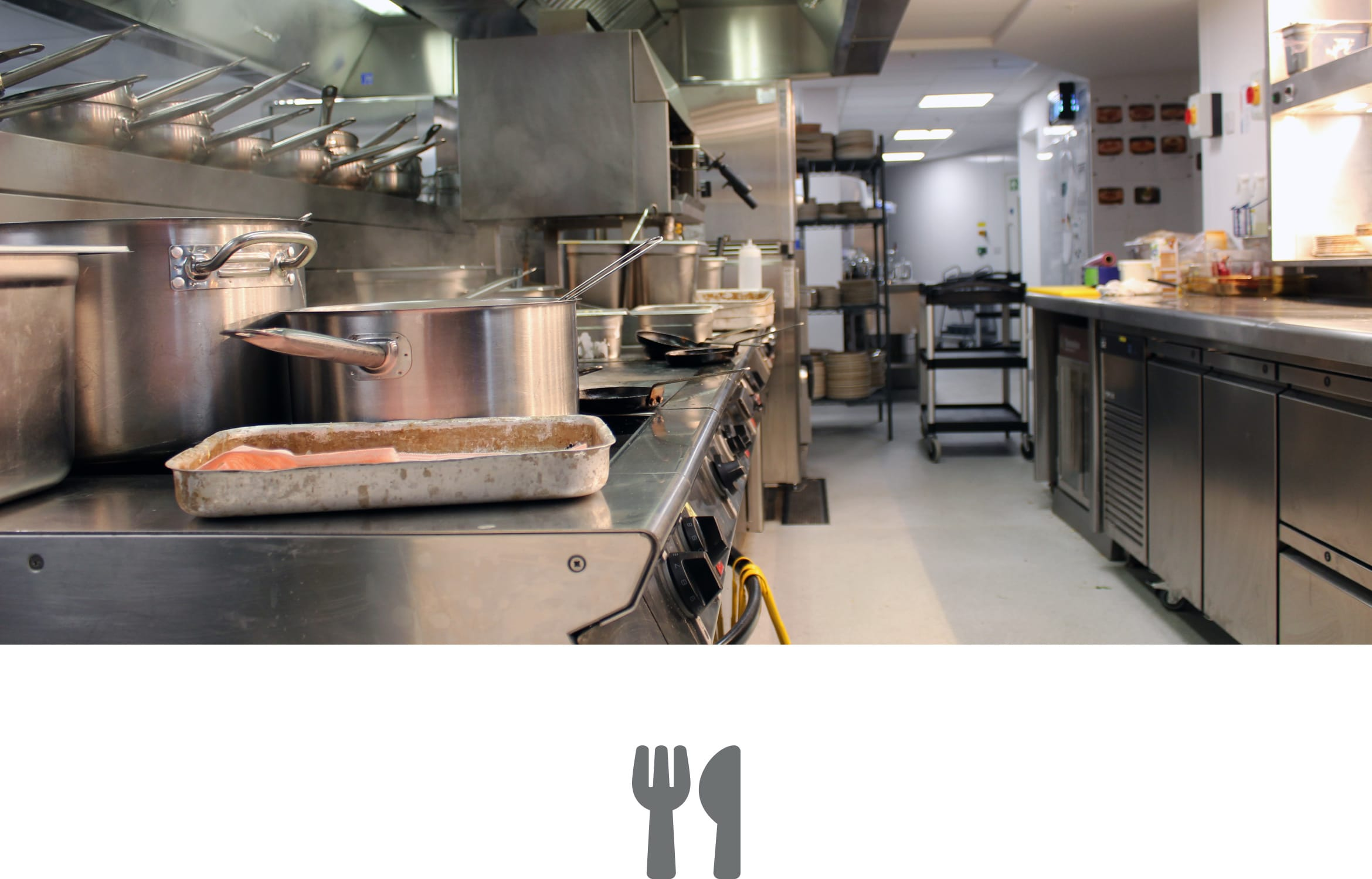 An empty, clean commercial kitchen