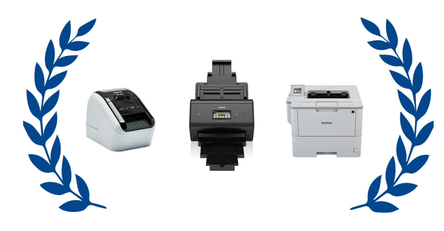 Label printer, document scanner and desktop printer within an award wreath
