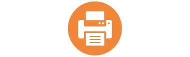 Printer icon on an orange background