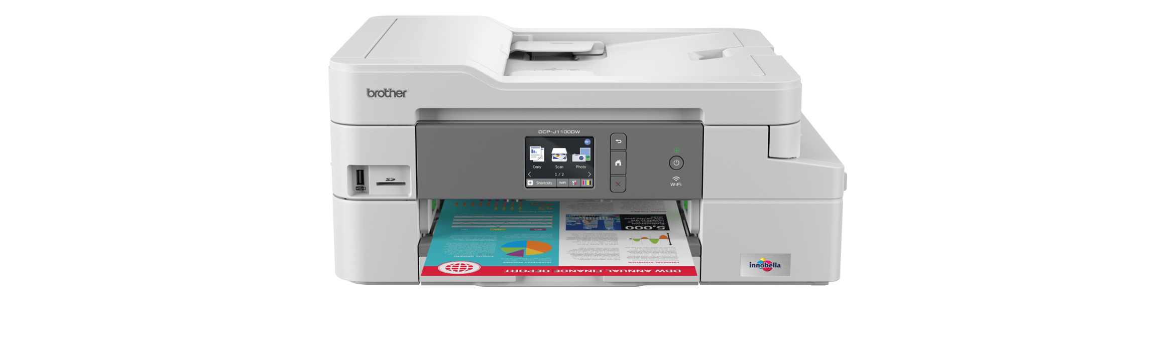 Brother DCP-J1100DW wireless 3-in-1 inkjet printer front view