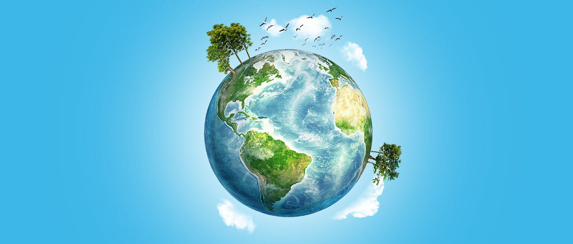 Blog header for 10 ways to help the environment showing the earth as a globe surrounded by clouds and trees against a blue sky background