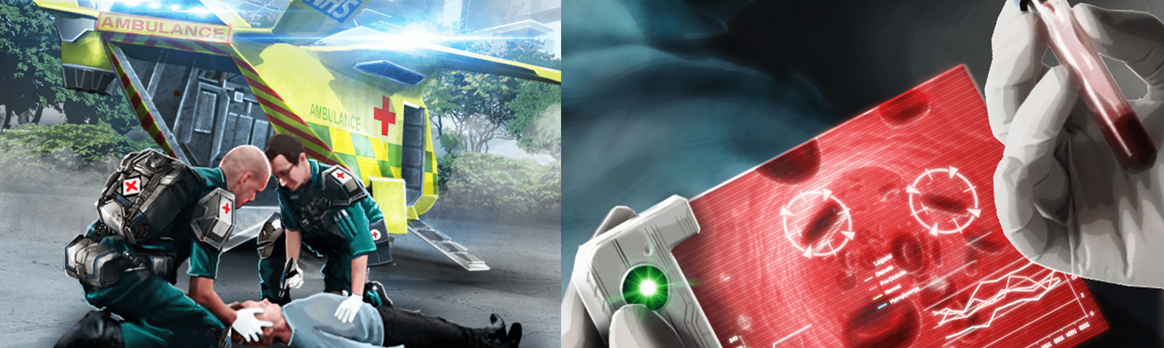 Paramedics use handheld diagnostics and nanotechnology to inspect a patient's blood outside the hospital of the future.