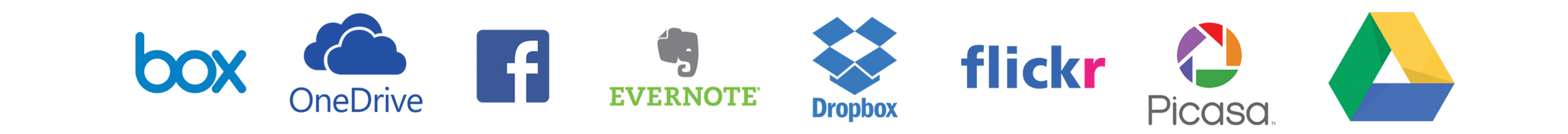 Brother web connect apps - Box, OneDrive, Facebook, Evernote, Dropbox, Flickr, Picasa and Google Drive logos