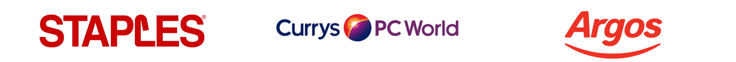 Brother trusted retailers - Staples, Currys PC World and Argos logos