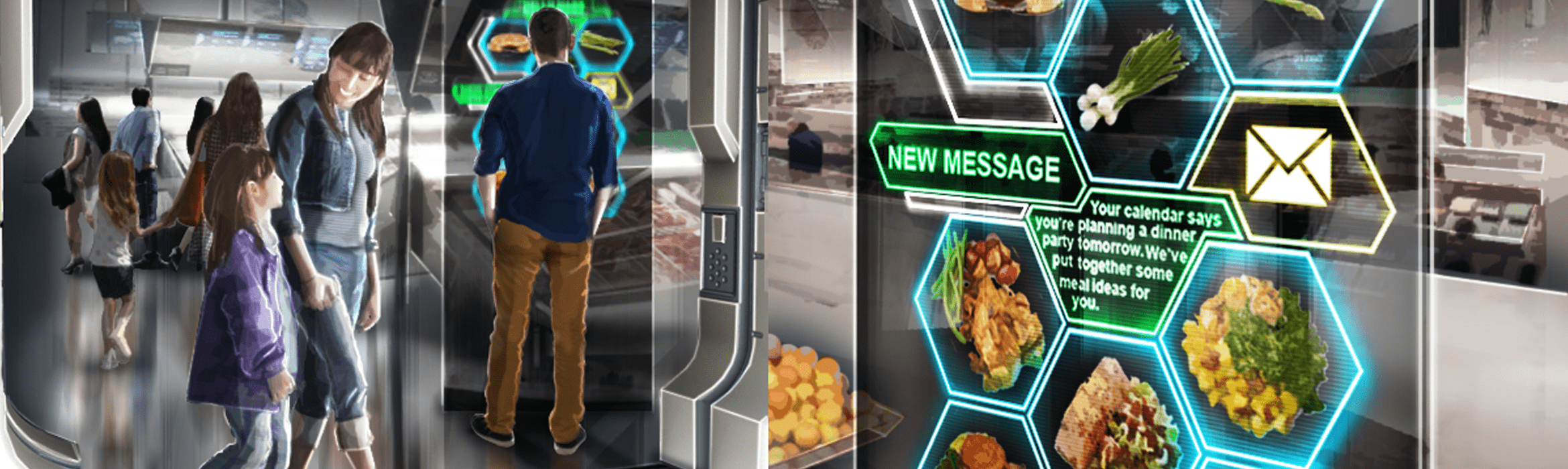 A customer receives personalised message on screen inside the high-tech retail store of the future.