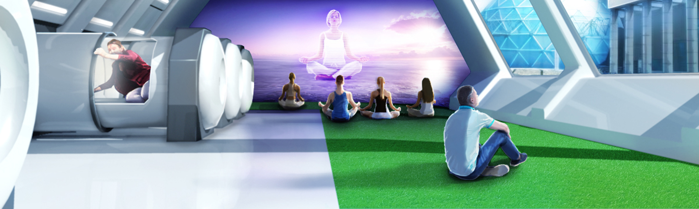 Illustration of the future of the office demonstrating an office designed for employee wellness