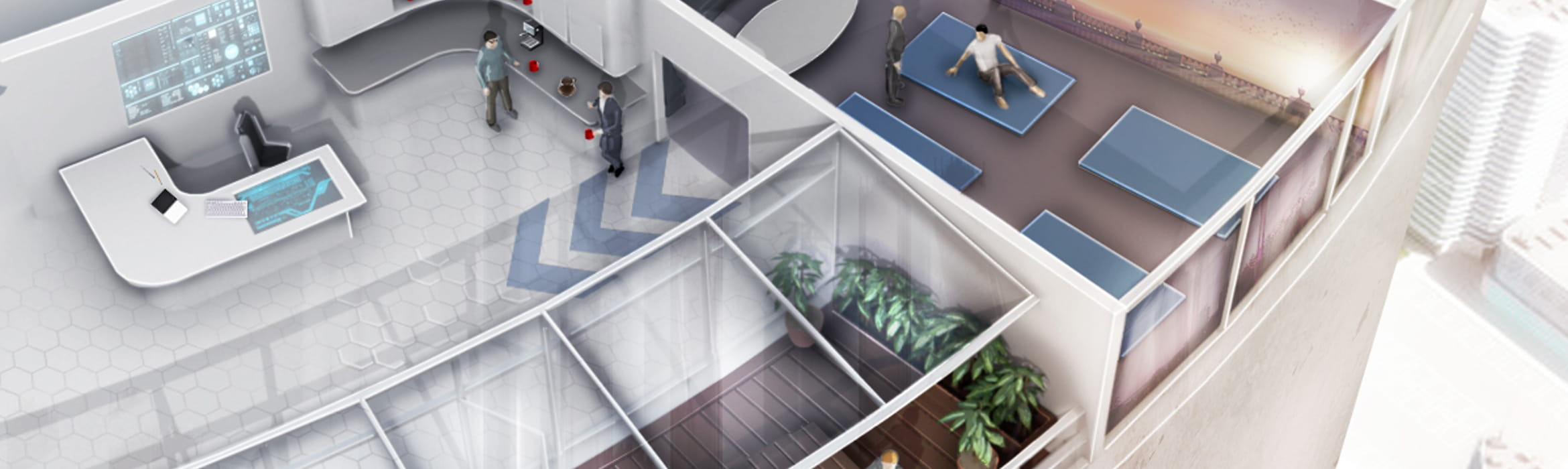 Illustration of an office designed for human interaction