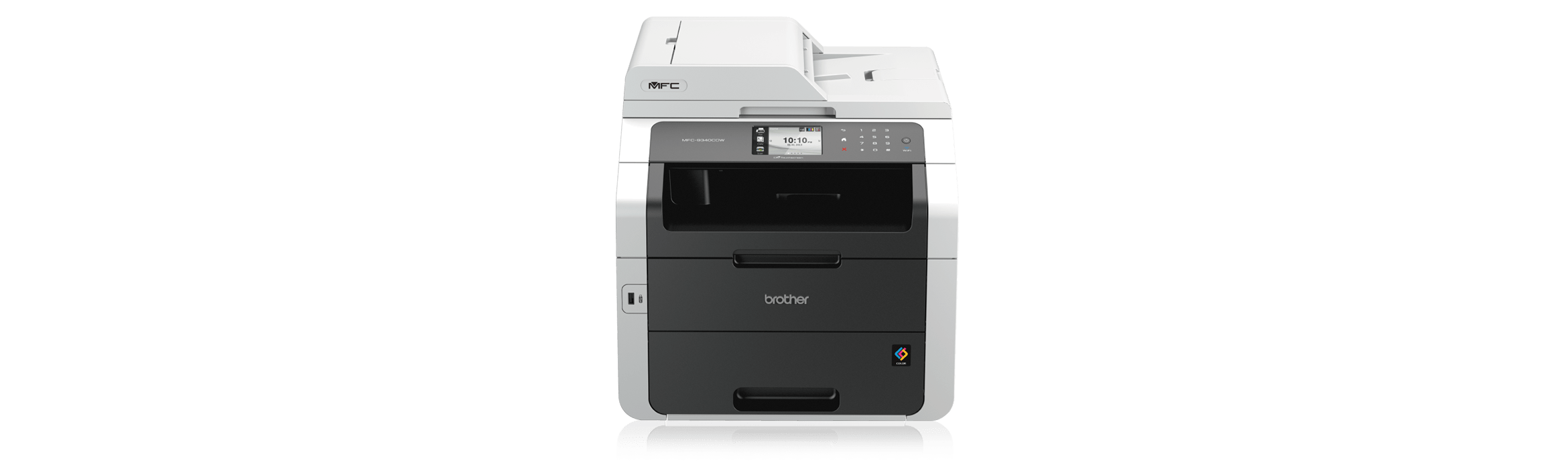 Image shows Brother MFC9340CDW Wireless Colour Laser Printer on promotion