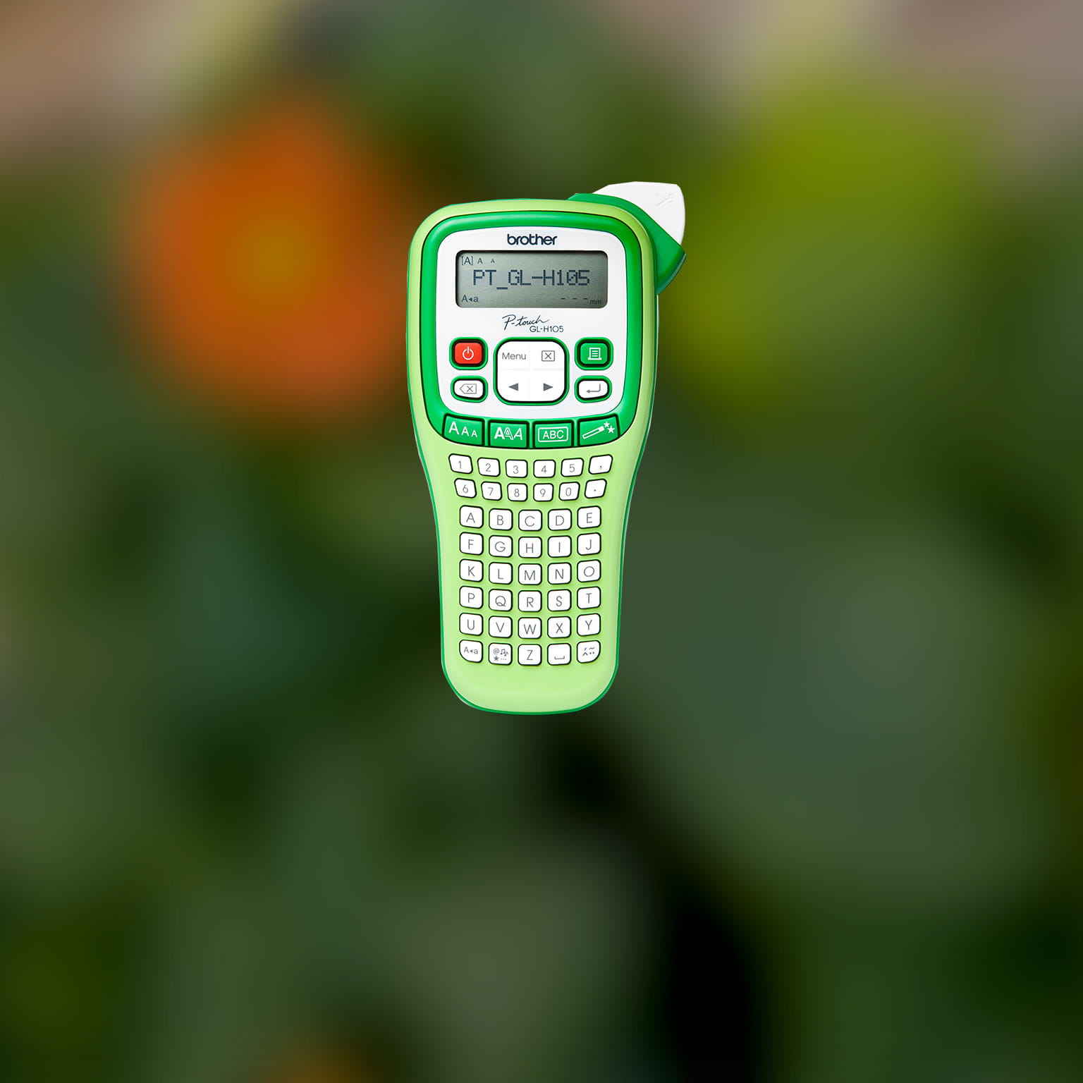 A breen coloured Brother handheld garden label printer