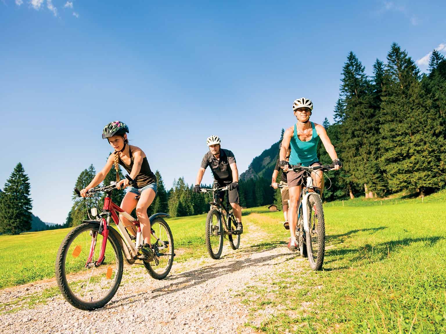 a family enjoying a cycling holiday