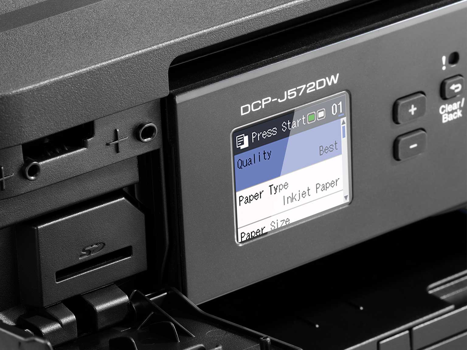 Close-up of Brother DCP-J572DW inkjet printer