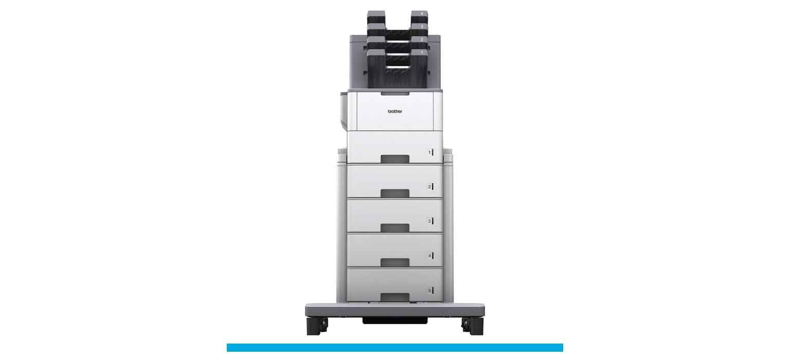 Brother's HL-L6400DW plus TT4000 tower tray and MX4000 mailbox