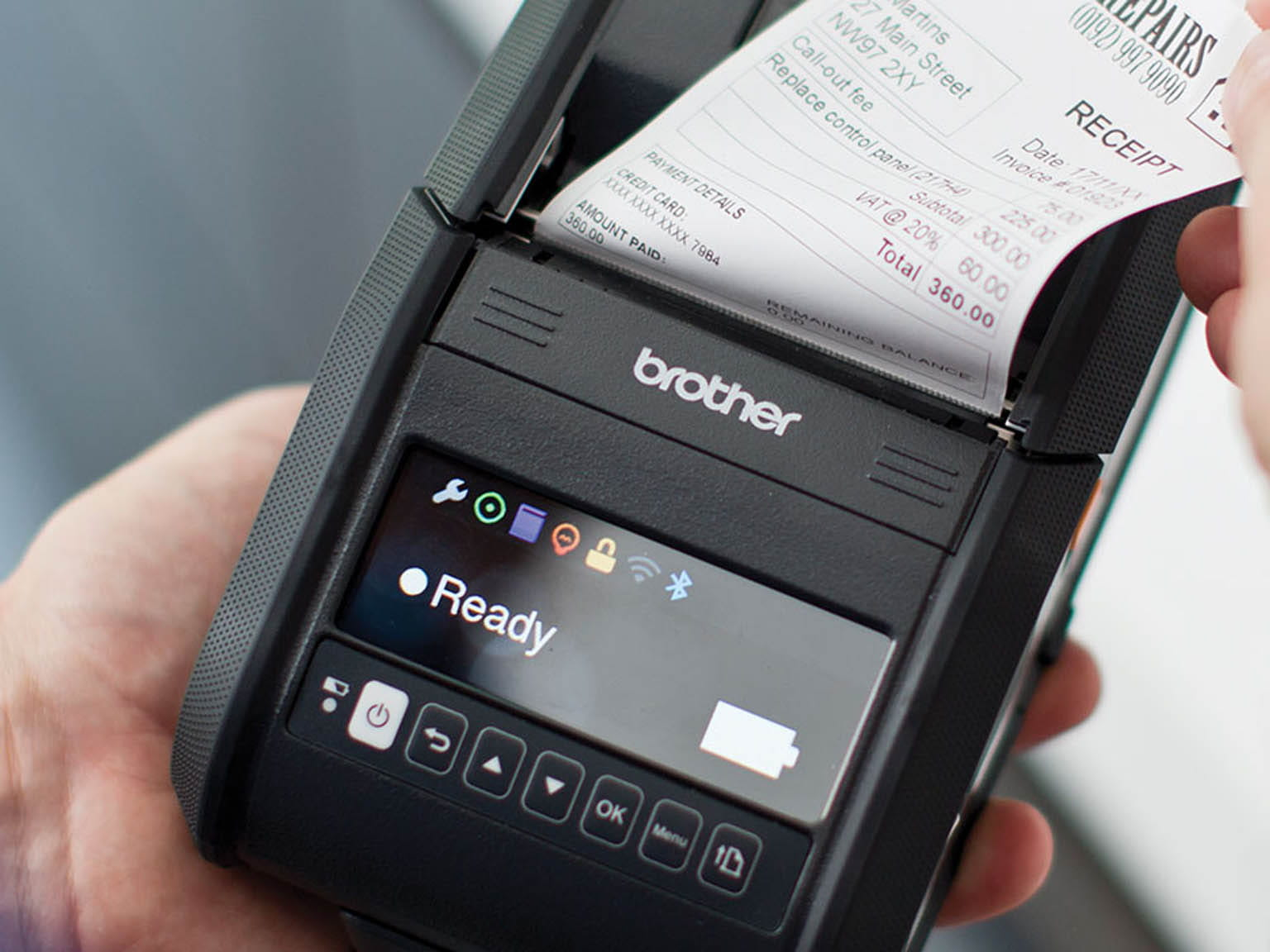 Brother Rugged Jet mobile printer in use