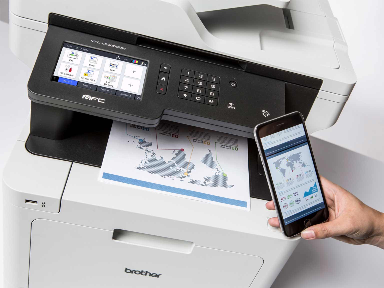 Printing on an MFC-L8900CDW from a smart phone