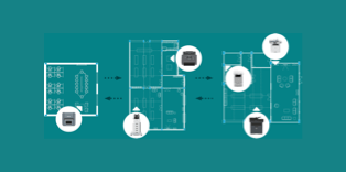 Diagram of six printers situated over floor plans of three office spaces on a teal background