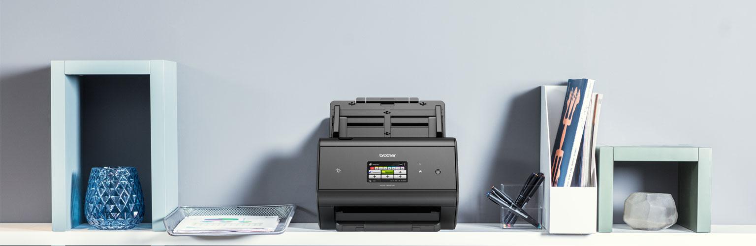 ADS3600W scanner on a shelf in an office