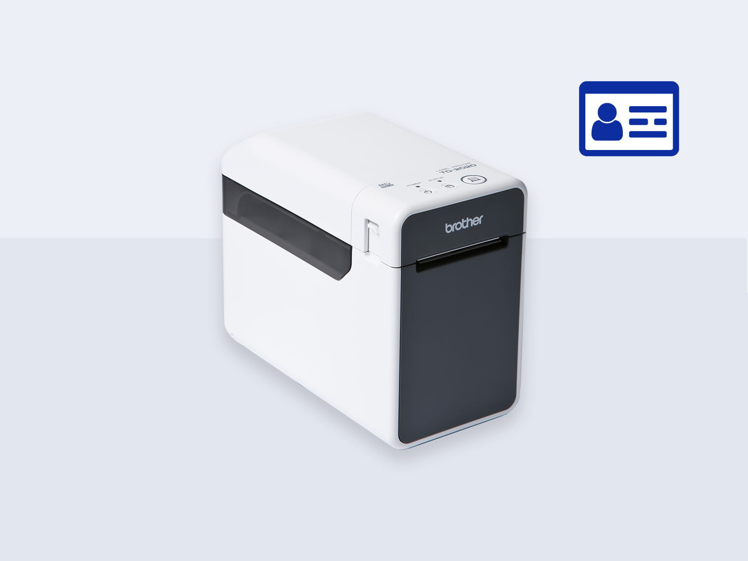 Brother TD label printer with blue identification icon