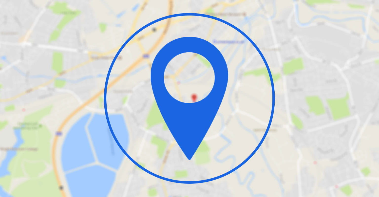 Blue location icon with map in the background to represent where to buy