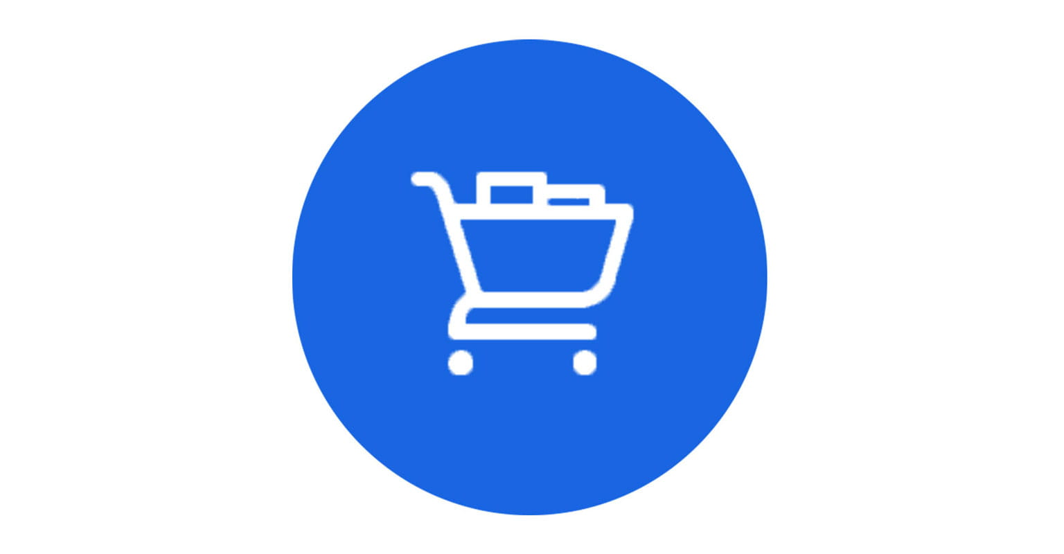 Trolley icon on blue circular background to represent latest promotions