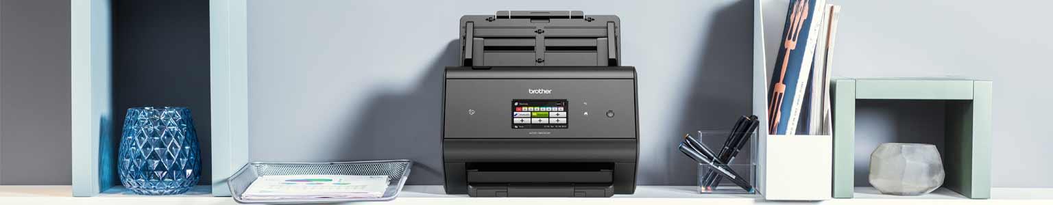 Brother ADS3600W scanner on a shelf