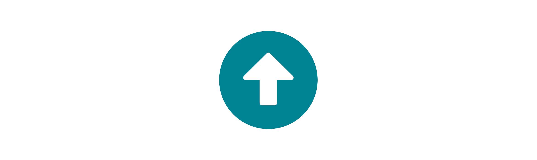 White upwards facing arrow with a blue border