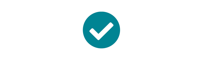 White tick with a circular blue border