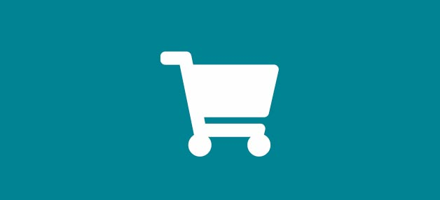 White shopping trolley icon on a teal background