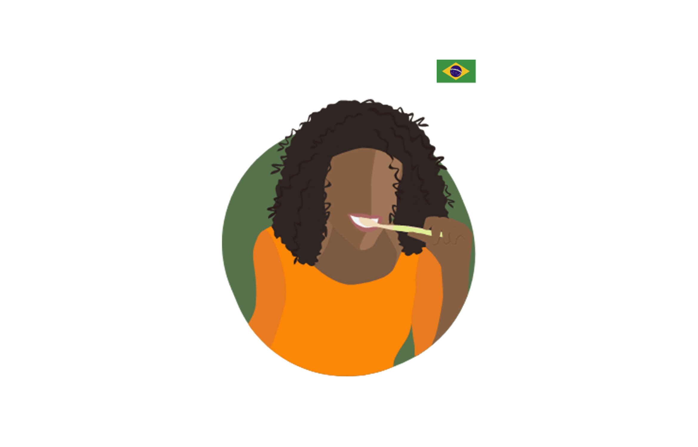 illustration of a woman brushing her teeth