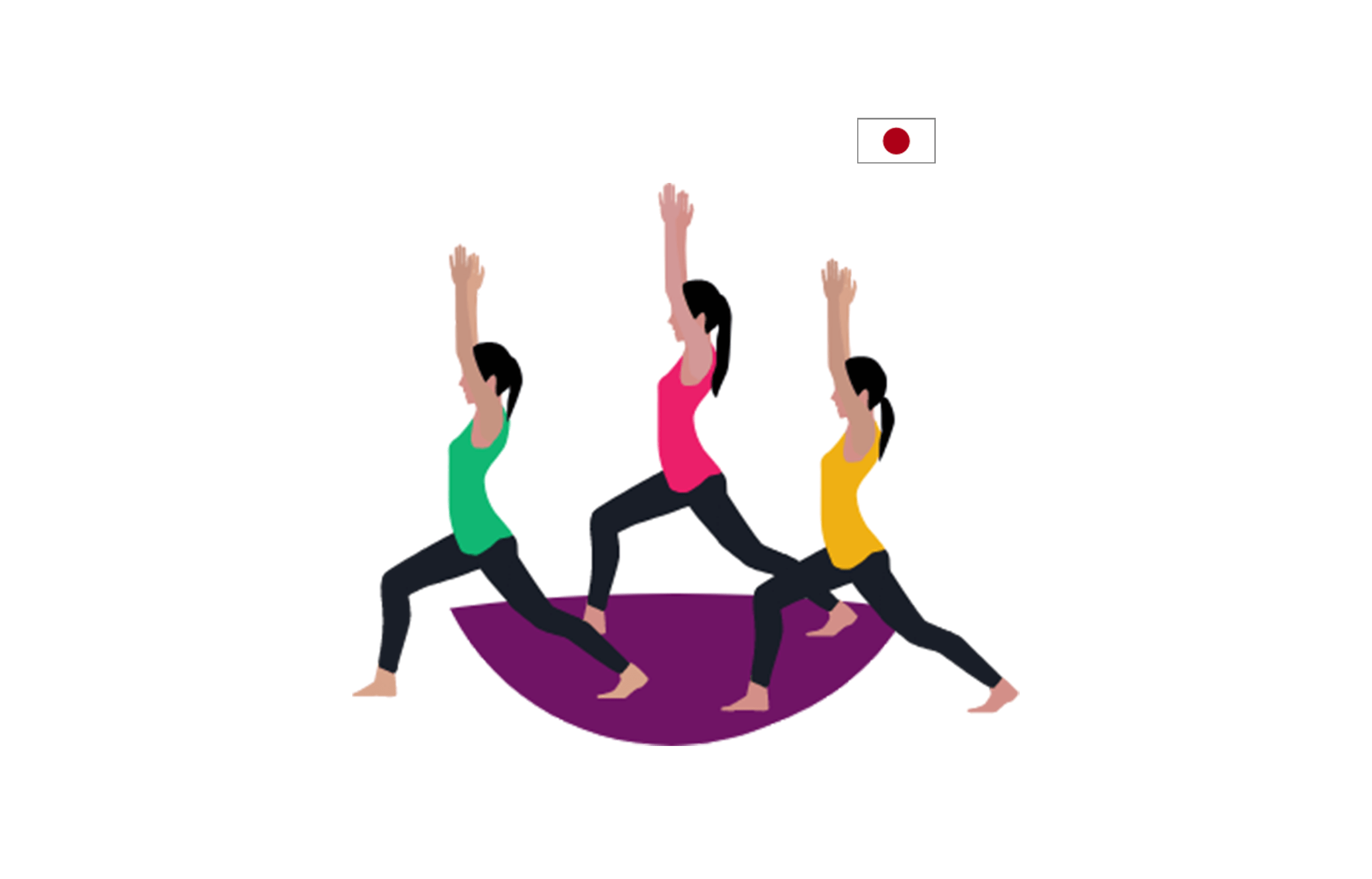 illustration of three women stretching