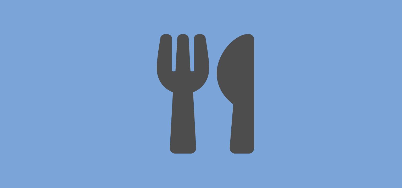 knife and fork on blue background