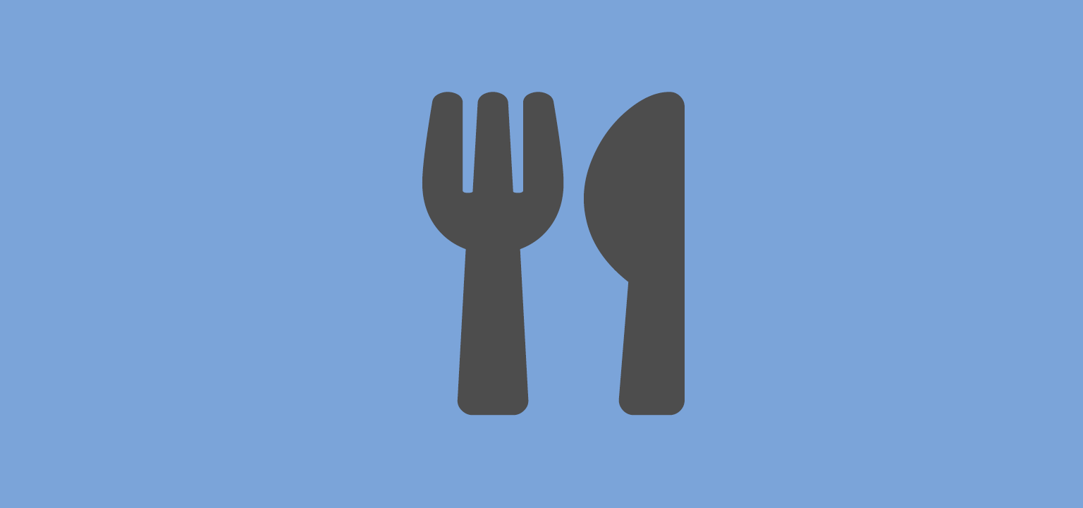 knife and fork on blue background