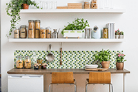 Modern kitchen with plants and labelled storage