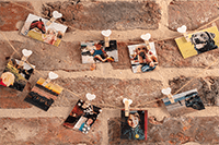 Instant photos of friends, family and pets hung up on brick wall with string and pegs