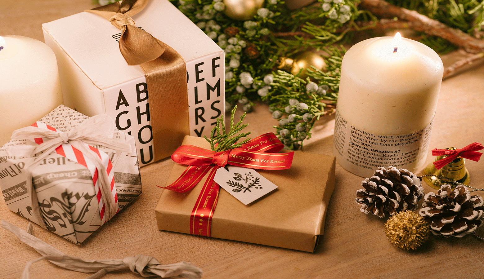 labelled christmas presents on a wooden table