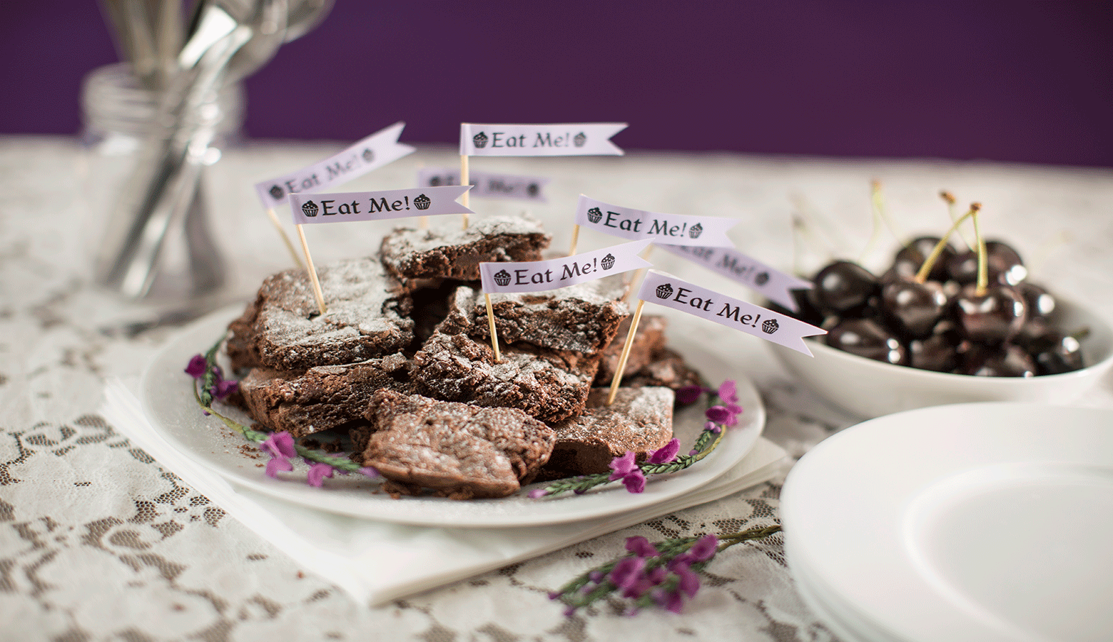 chocolate brownies on a plate with an eat me label