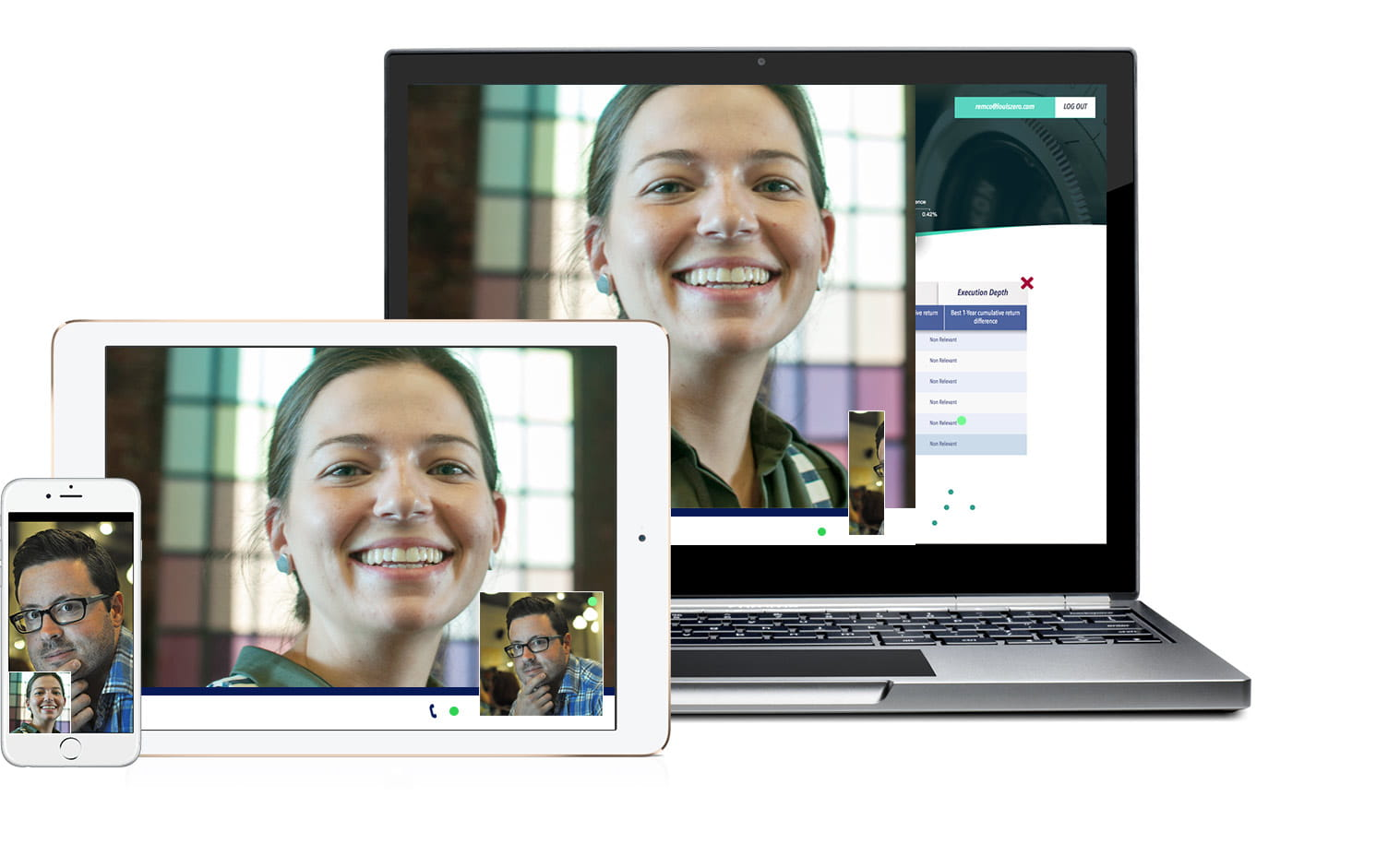 Several devices show OmniJoin web conferencing, video conferencing and online meeting software