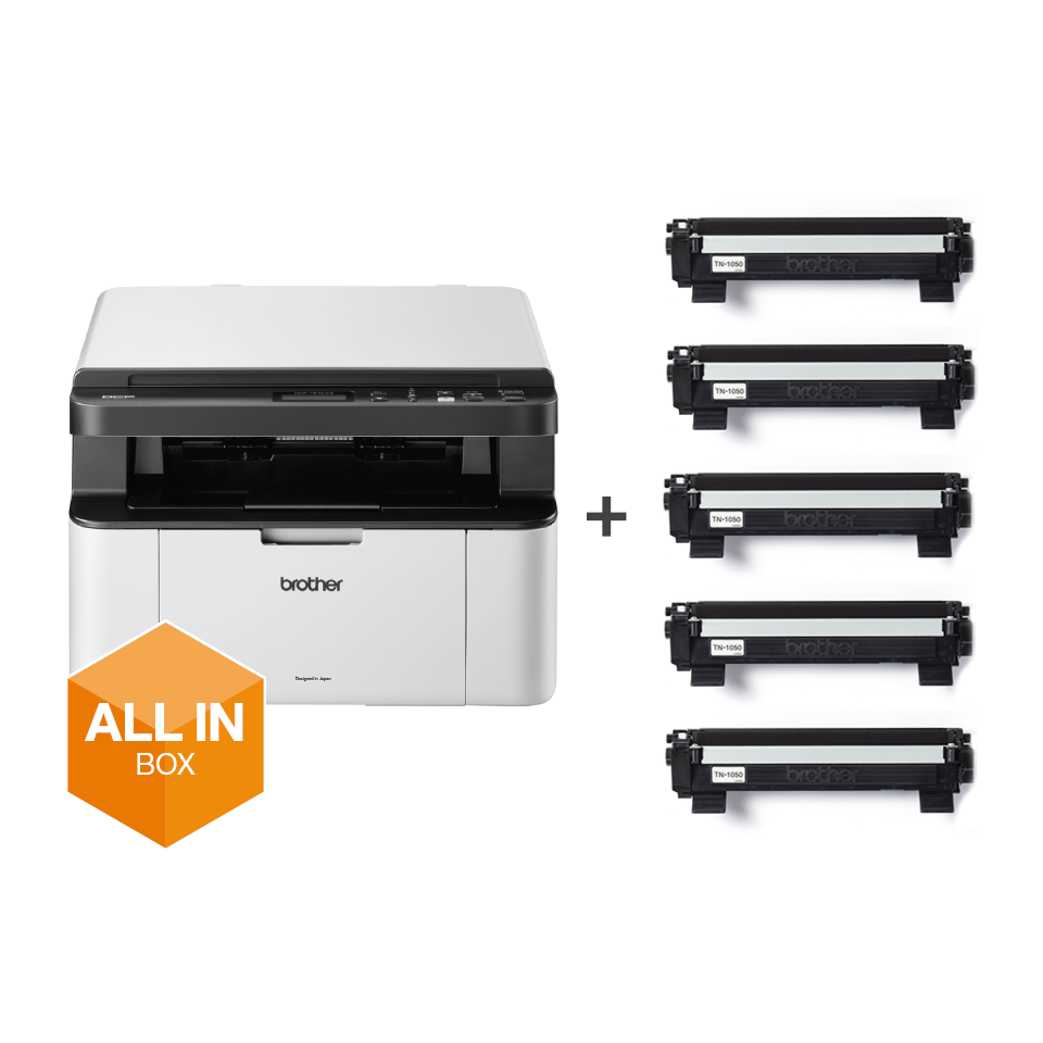 Wireless 3-in-1 Mono Laser Printer - DCP-1610W All in Box Bundle 9