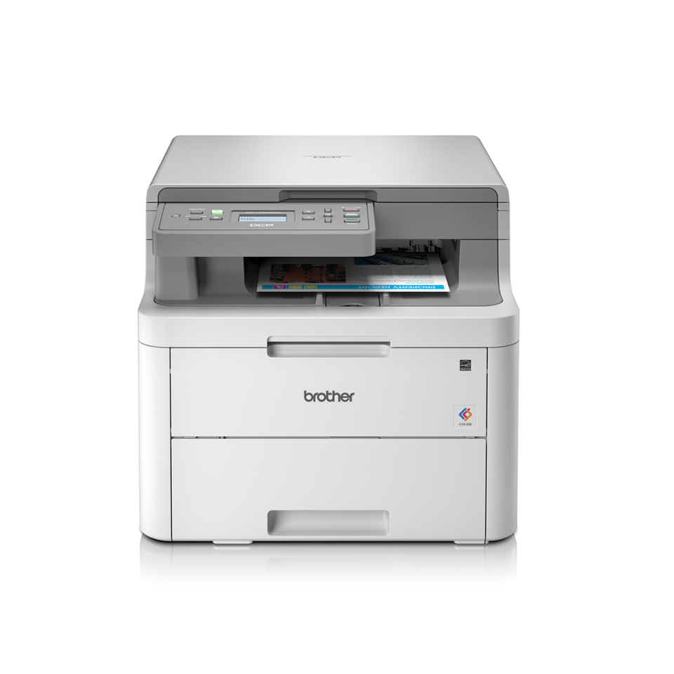 DCPL3510CDW colour LED wireless printers main facing with paper