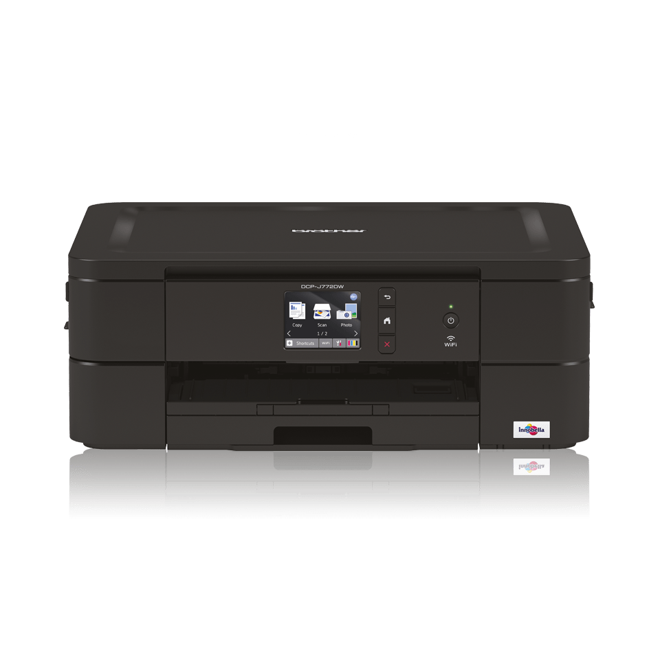 Black inkjet printer facing straight ahead - DCPJ772DW
