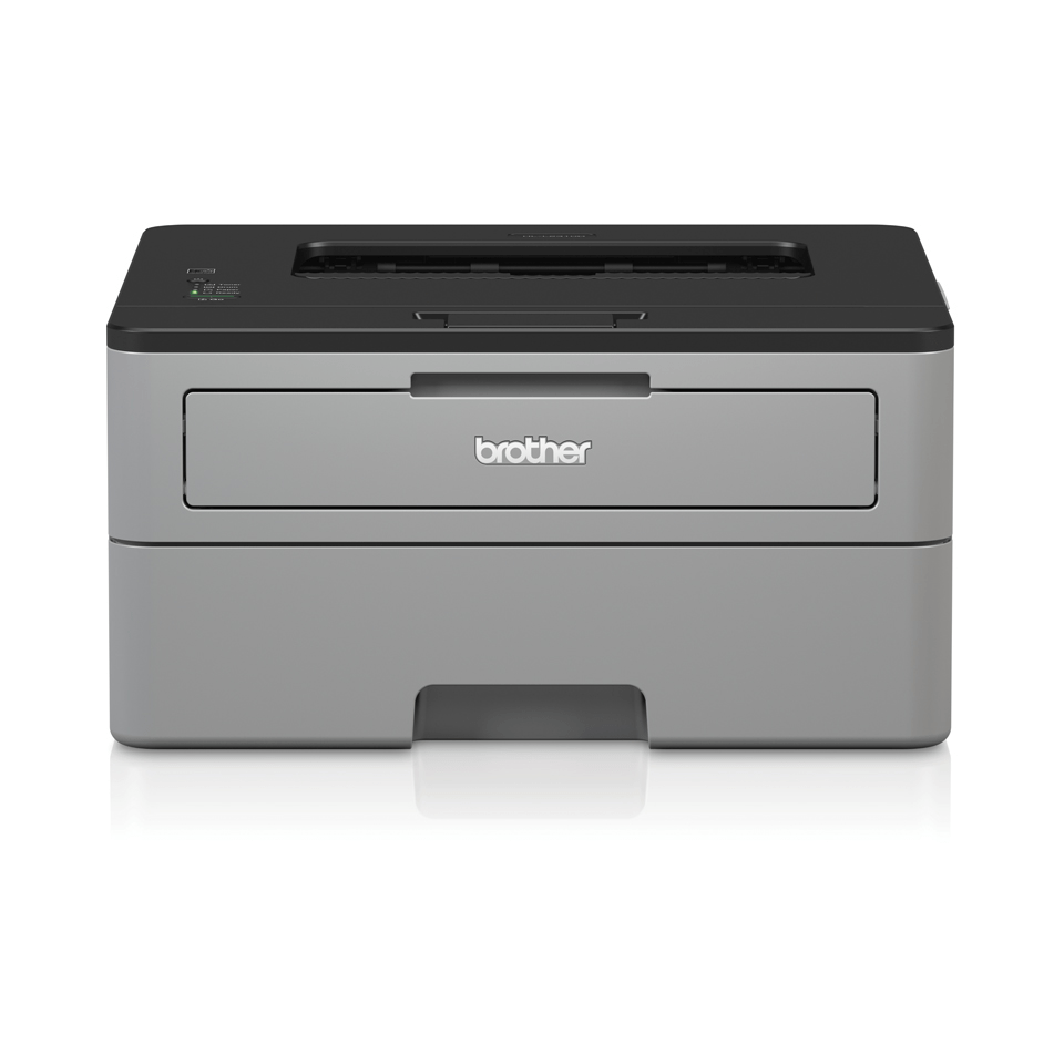 Compact mono laser printer facing front