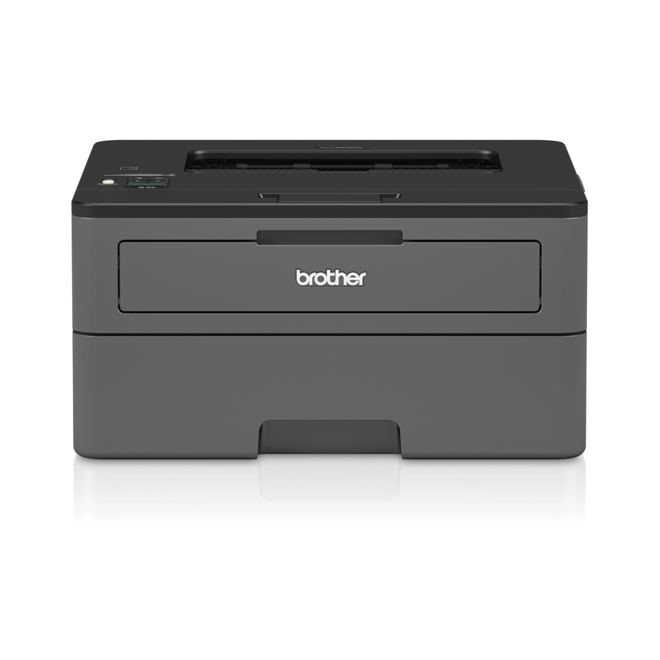 Compact mono laser printer front with reflection